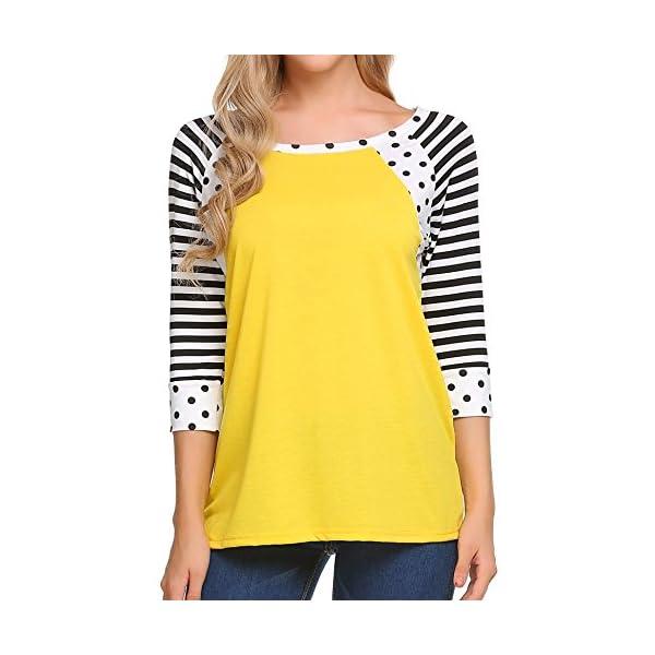 Zeagoo Women's Polka Dots Shirt Striped 3/4 Sleeve Casual Scoop Neck Tops Tee...