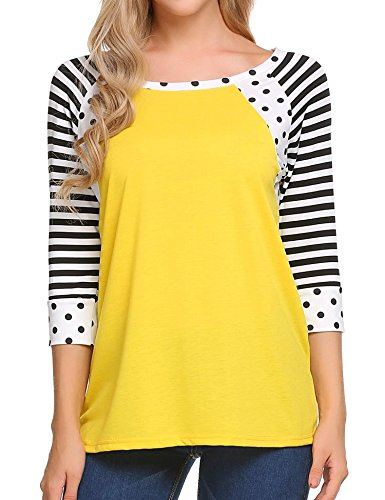 (Zeagoo Womens Striped 3/4 Sleeve Crew Neck Tshirt Casual Tunic Top (2_yellow,Small))