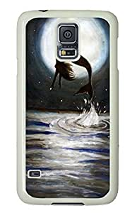 Hard Case Shell for Samsung Galaxy S5 Covered with Mermaid Jumping Out of Sea,Customized White Plastic Cover Skin for Samsung Galaxy S5 I9600 in DDJK Case