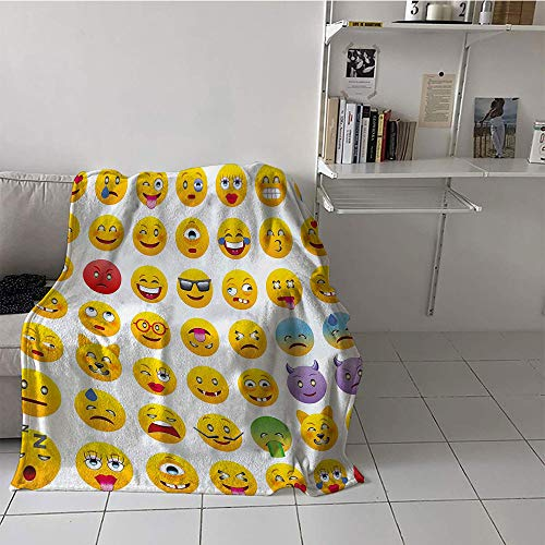 Khaki home Children's Blanket Throw Plush Throw Blanket (60 by 70 Inch,Emoji,Cartoon Like Smiley Faces of Mosters Happy Sad Angry Furious Moods Expressions Print,Multicolor