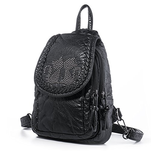 Price comparison product image Katloo Mini Backpack For Women Small Soft Washed Leather Backpacks Girls Casual Daypack Shoulder Chest Bag Sling Purse Junior School Book Pack Convertible Strap Tear Drop Cat (Black)