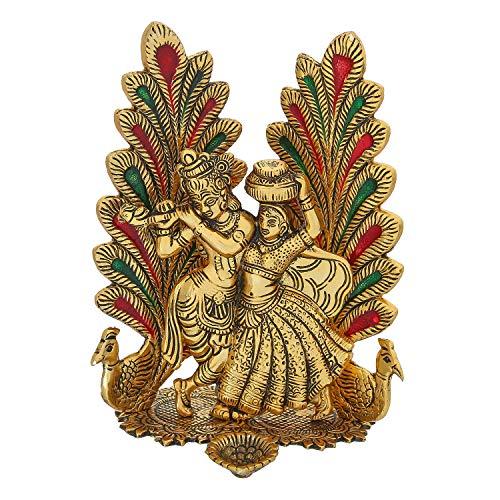 Chhariya Crafts Metal Radha Krishna Idol Statue with Diya Peacock Design Decorative Showpiece (Metal, Gold)
