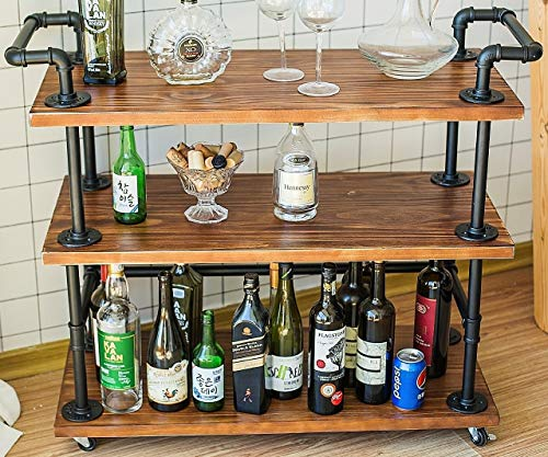 DOFURNILIM Best Bar Carts/Serving Carts/Kitchen Carts/Wine Rack Carts on Wheels with Storage - Industrial Rolling Carts - 3 Tiers Wine Tea Beer Shelves/Holder - Solid Wood and Metal