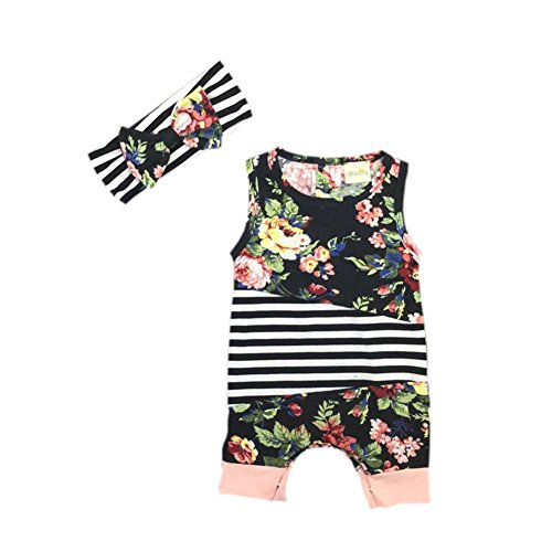 Nursing Striped Costumes (Cute Baby Romper + Headband Summer Sleeveless Floral Striped Girl Costumes Set Kids Cotton Jumpsuit)