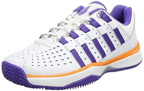 K-Swiss Performance Hypermatch HB, Chaussures de Tennis Femme, Weiß Blanc (White/Purple/Orange)