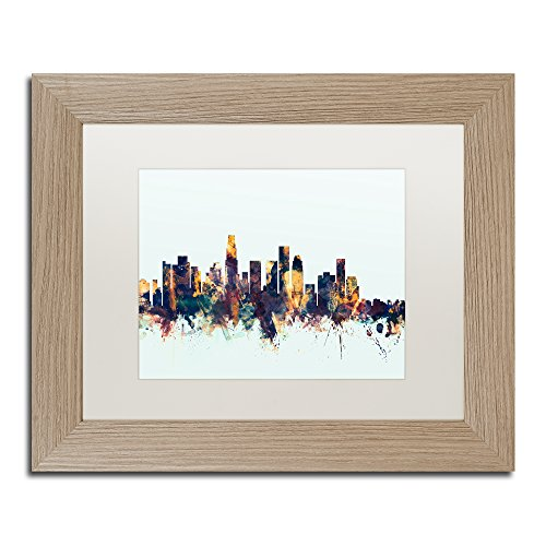 Los Angeles CA Skyline Blue by Michael Tompsett, White Matte, Birch Frame 11x14-Inch (Big Egg Angeles Green Los)