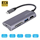 Ewayfa USB C Hub 5-in-1 Adapter with PD Charging Port, 4K USB C to HDMI Adapter, USB 3.0 Port, SD/TF Card Reader for MacBook Pro & Google Chromebook & and More Type C Laptops.