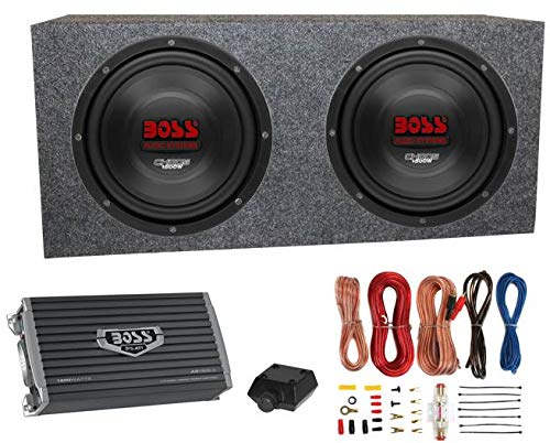 """2) Boss CH10DVC 10"""" 3000W Car Subwoofers Subs+Sealed Box Enclosure+Amp+Amp Kit"""