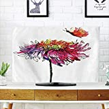 LCD TV Cover Multi Style,Watercolor,Chrysanthemum Flower Illustration Friendship Well Being Honoring Loved Ones Decorative,Multicolor,Customizable Design Compatible 70'' TV