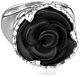 King Baby Carved Jet Rose Ring, Size 8