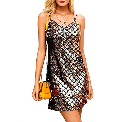 Novia's Choice Women Shiny Sequin Spaghetti Strap V Neck Skirt Glitter Sexy Backless Party Mini (Glitter Party Dress)