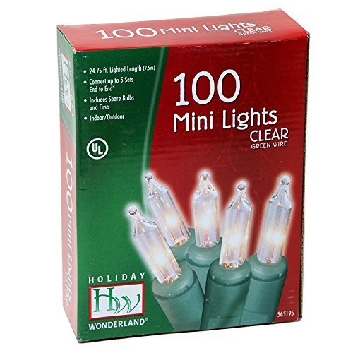 Holiday Wonderland 100-Count Clear Christmas Light Set - Green Wire Set Light