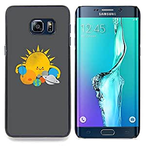 - Sun Star System Planets Kids Drawing - - Snap-On Rugged Hard Cover Case Funny HouseFOR Samsung Galaxy S6 Edge Plus