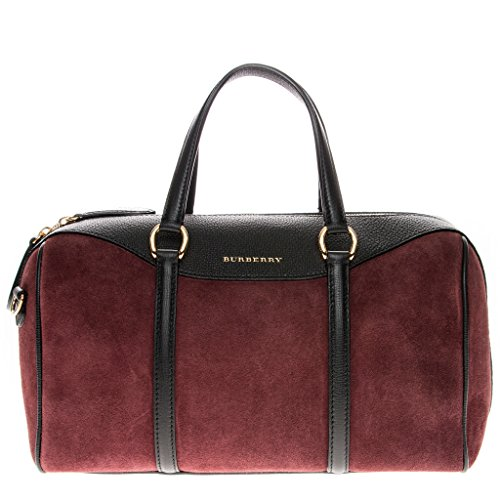 Burberry Women's Medium Alchester in Suede and Black Wine