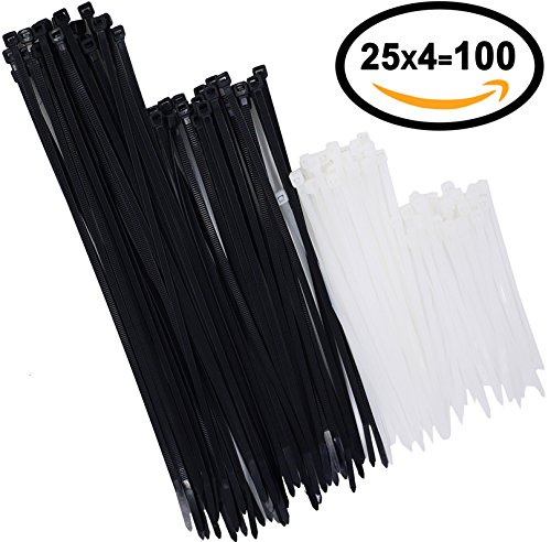 Nylon Cable Ties 100 pcs 4+6+8+10 Inch Assorted Self-Locking Multi-Purpose Nylon Zip Cable Ties Cord Wire Cable Tie Management, Assortment Black and White (Combo Pack)