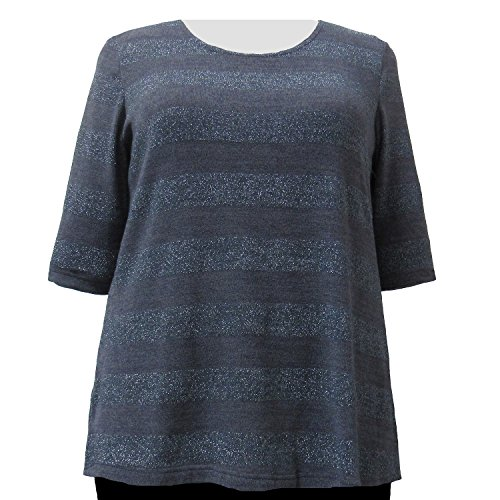 Cheap A Personal Touch Charcoal Metallic Stripe Women's Plus Size Knit Sweater for sale