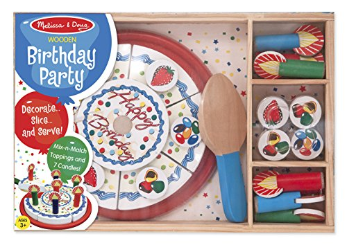 Melissa & Doug Birthday Party Cake - Wooden Play Food With Mix-n-Match Toppings and 7 (Toy Birthday Cake Set)