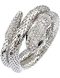 Women's Sexy Titanium Steel and Crystal Lifelike Thick Snake Stacking Wrap Wrist Cuff Bangle Bracelet