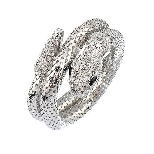 (Women's Sexy Titanium Steel and Crystal Lifelike Thick Snake Stacking Wrap Wrist Cuff Bangle Bracelet (Silvery))