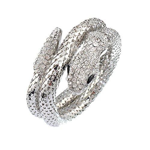 (Women's Sexy Titanium Steel and Crystal Lifelike Thick Snake Stacking Wrap Wrist Cuff Bangle Bracelet)