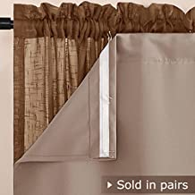 NICETOWN Thermaliner Blackout Panel Pair - 54-Inch by 60-Inch Thermal Curtains With Built-in Rod Pocket and Bonus Curtain Hooks, Taupe