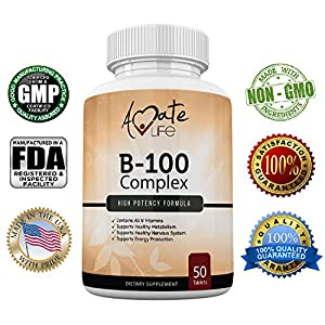 Amate Life Vitamin B 100 Complex Tablets – Dietary Supplement Supports Healthy Metabolism,…