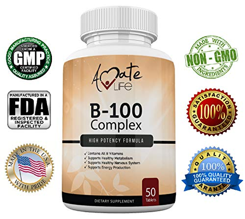 Amate Life Vitamin B 100 Complex Tablets – Dietary Supplement Supports Healthy Metabolism, Nervous System & Energy Production – Premium Vitamin B-100 Complex Capsules- Made in USA - 50 Tablets