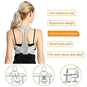 Back Posture Corrector for Men and Women, Adjustable Upper Back Clavicle Posture Support for Improve Bad Posture, Chest Slouching, Thoracic Kyphosis and Shoulder Neck Pain Relief- Gray(XL)