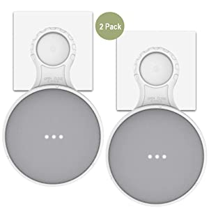 MTSmart Outlet Wall Mount Holder for Google Home Mini, Strongest Protecting Speaker Stand Hanger, Space-Saving Accessories for Google Mini Voice Assistant (White - 2 Pack)