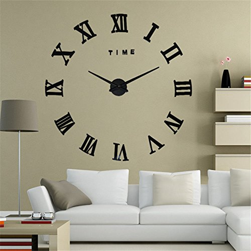 - Imoerjia Living Room 3D DIY Clock Mute Wall Clock Clocks Personalized Creative Watches Stylish Art-Form Black, Should Be 70-90Cm