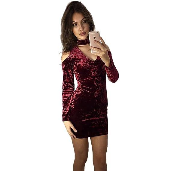 275e1ed9584 Dooxi Mujer Cuello V Manga Larga Vestido Cabestrillo Terciopelo Vestido de  Fiesta Rojo S: Amazon.es: Ropa y accesorios