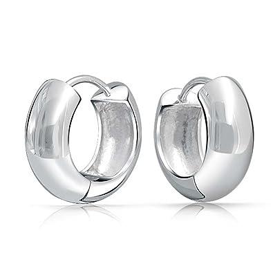 Bling Jewelry Modern Wide 925 Sterling Silver Huggie Hoop Earrings F7oKFX