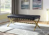 Iconic Home Claudio PU Leather Modern Contemporary Tufted Seating Goldtone Metal Leg Bench, Black
