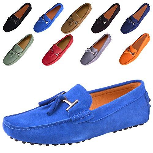 Santimon Herren Schuhe Hausschuhe Slipper Mokassins Casual Business Leder Bummler Fahren Quaste Halbschuhe Blau