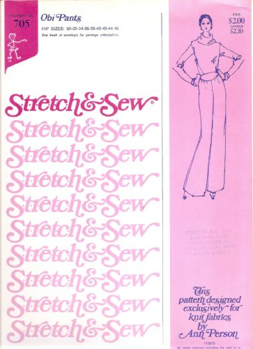 Knit 1970s Vintage - Stretch & Sew 705 By Ann Person, Obi Pants Sewing Pattern Designed for Knit Fabric Only Vintage 1970s