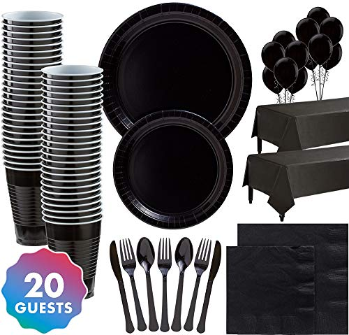 Party City Solid Black Party Supplies for 20 Guests, Include Plates, Napkins, Utensils, Cups, Table Covers, and Balloons -