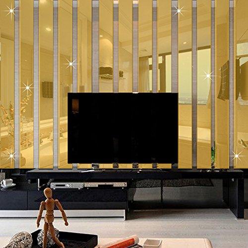 odern 3D Acrylic Long Rectangle Mirror Wall Sticker Home Decoration Wall Border Decal Decor (Americana Wall Borders)