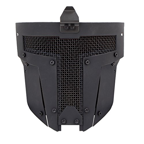 IDOGEAR Airsoft Full Face Mask Tactical SPT Mesh Mask Fit for Fast Helmet Duty Face Protection (A: Black) ()
