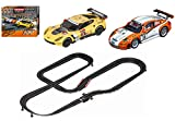 Carrera GO!!! GT Competition - Slot Car Race Track Set - 1:43 Scale - Analog System - Includes 2 Racing Cars: Porsche and Chevrolet Corvette - Two Dual-Speed Controllers with Turbo - For Ages 8 and Up