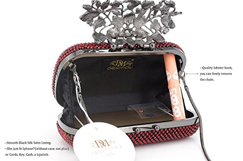 Red Bag for Dexmay Clutch Party Women Luxury Flower Wedding Crystal Rhinestone Siam Purse Evening 88qTOnwz