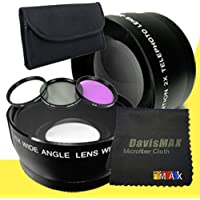 58mm Wide Angle + 2x Telephoto Lenses + 3 Piece Filter Kit for Nikon D5200 with Nikon 55-300mm Lens + DavisMAX Fibercloth Lens Bundle