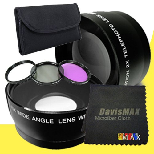 67mm Wide Angle + 2x Telephoto Lenses + 3 Piece Filter Kit for Sony Alpha SLT-A65 with Sony 28-75mm f/2.8 Lens + DavisMAX Fibercloth Lens Bundle