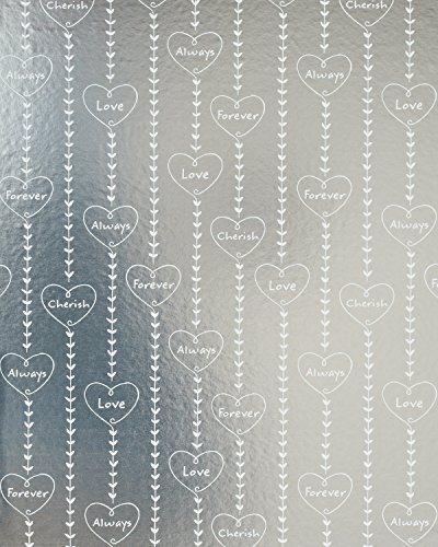 - American Greetings Romantic Wrapping Paper, Hearts on Silver, 20 sq. ft.