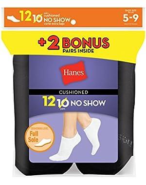 Hanes Women`s 12-Pack Cushion No-Show Socks