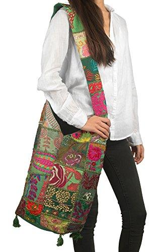 Sling Green Azure Floral Summer Crossbody Canvas Bag Monk Tribe Fashion Women Hobo Boho Handbag Tote Shoulder zwZnpx