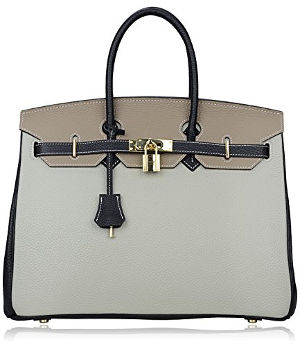 Pifuren Genuine Leather Tote Ladies Padlock Handbags With Gold Hardware  30Cm 11 8   Black Grey
