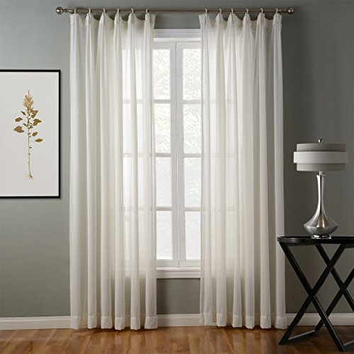 Sheer Pleated Pinch Drapes - Chadmade Hollow Herringbone Polyester Pinch Pleated Top Solid Sheer Curtains Drapery (1 Panel) - 100Wx96L Inch - Linen, Size and Heading Customizable