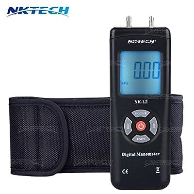 NKTECH 1890 Digital Manometer Differential Air Gauges Pressure Meter kPa ±2Psi Gas Electronic Tester Gauge Measure InH2O Mbar inHg mmHg Dual LCD Display Backlight