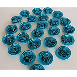 24 Turquoise Blue Paper Roses, Dark Teal Wedding Flowers, Bridal Shower, Floral Bouquet DIY, Single Rosettes Set of 24, Baby Nursery Decor 1.5 Inch Blooms 56