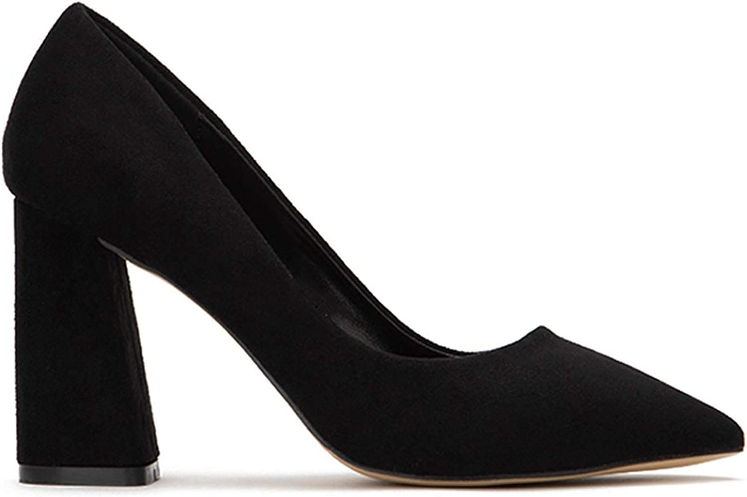 Wedding Formal Party Simple Classic Pump Pointed Toe Suede Comfortable Shoes Kaicran Womens Chunky Block High Heel